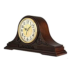 FCZH Mantel Clocks, Wood Mantle Clock with Westminster Chime. Solid Wood Decorative Chiming Mantel Clock is Battery Operated Shelf Clock Westminster Chimes On The Hour,18.3 9.5