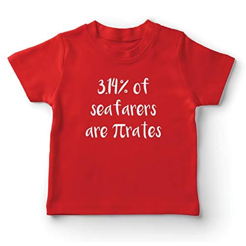 lepni.me Camiseta para Niño/Niña 3.14% de los Marineros Son Pi-Rates Matemáticas Cuota de Humor (7-8 Years Rojo Multicolor)