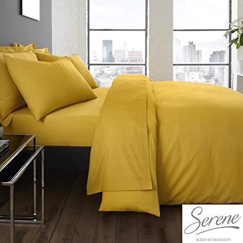 Serene Plain Dye Collection Juego de Funda de edredón de fácil Cuidado, Color Ocre