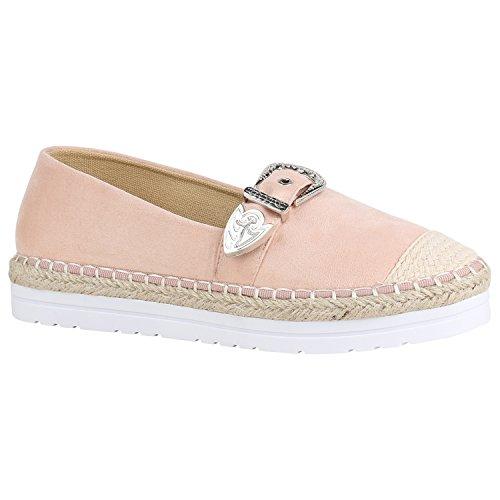 stiefelparadies Modische Damen Schuhe Bast Slipper Glitzer Muster Espadrilles 156006 Rosa Schnallen 39 Flandell
