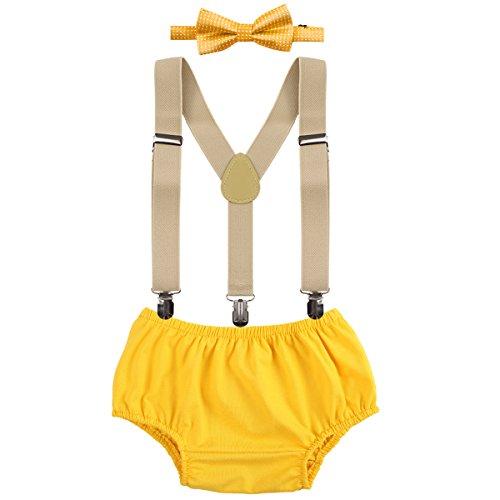OBEEII Baby 1. / 2. Geburtstag Outfit Neugeborenen Kinder Bloomer Shorts + Fliege + Clip-on Hosenträger 3pcs Bekleidungssets für Foto-Shooting Kostüm Gelb