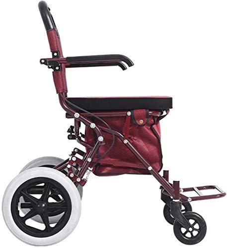 Fhxr Red Folding Rollator wandelframe met vergrendelingsremmen, stoel, Oudere Walker Stroke vrije tijd hand push scooter kan nemen vier rondes van winkelen, vrije tijd, wandelwagen, kleine winkelwagen