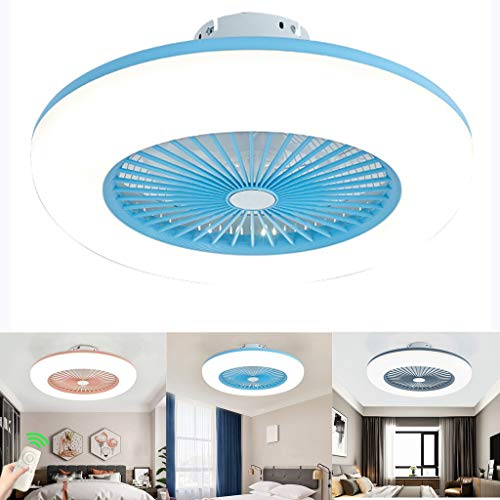Lámpara de techo ventilador de techo con iluminación LED y mando a distancia ventilador silencioso creativo ventiladores de invisible a techo iluminación para salón dormitorio, azul