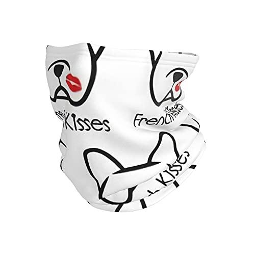 best& French Bulldog Kisses - Pañuelo multifuncional para el cuello, calentador de cuello, pañuelo para la cabeza