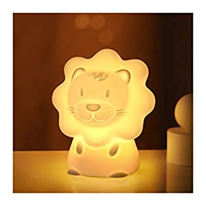 Cute Night Light for Kids – Paint Free Silicone Lion LED Nightlight, Nursery Lamp with Timer, for Toddler, Baby, Girls, Boys, Children Gift, Colorful
