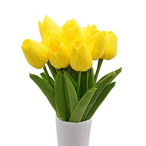 10 flores artificiales de tulipanes de imitación de tacto real para arreglos de flores, boda, fiesta, hogar, jardín, cocina, cafetería, decoración floral, color amarillo