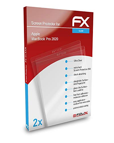 atFoliX Screen Protection Film compatible with Apple MacBook Pro 2020 Screen Protector, ultra-clear FX Protective Film (2X)