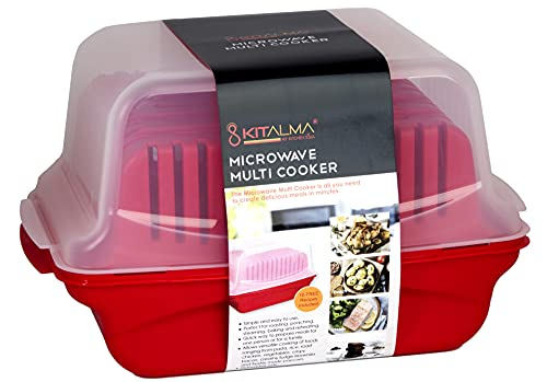 No Mess All in 1 Microwave Cooker Set For Bacon, Pasta, Rice, Popcorn, Vegetables and So Much More In One 5.8L Device. Quickly and Easily Steam, Roast, Poach, Bake and Cook Healthy Dishes for Any Meal