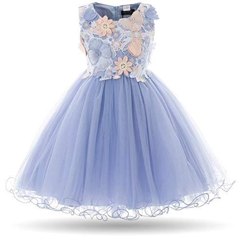 Qfeng Kinderen Meisje Jurk Vlinder Bloem Borduurwerk Formele Bruiloft Feestjurken voor Meisjes 2 tot 11 Jaar (Kleur : #1 Blauw, Maat : 10-11 Jaar)