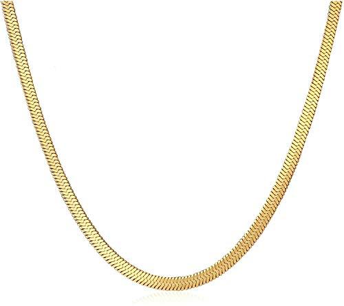 Collar de cadena de espiga de oro de 18 quilates, cadena de...