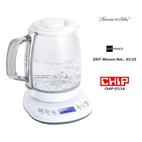 Rosenstein & Söhne Wasserkocher Thermostat: Glas-Wasserkocher mit Warmhaltefunktion, 4 Temperaturen, 1,2 l, 1200 W (Elektronischer Wasserkocher)