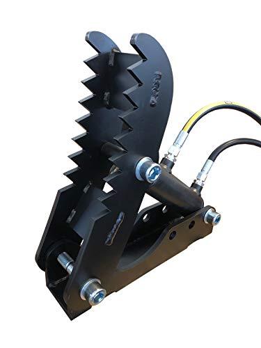 Baggerdaumen mit Hydraulik inklusive Schläuche Bagger-Zange Holzgreifer Niederhalter Greifer für Minibagger Bagger