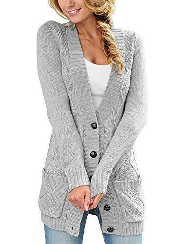 Roskiky Damen Strickjacke mit Knopfleiste vorne, langärmelig und Zopfmuster Hellgrau Größe M