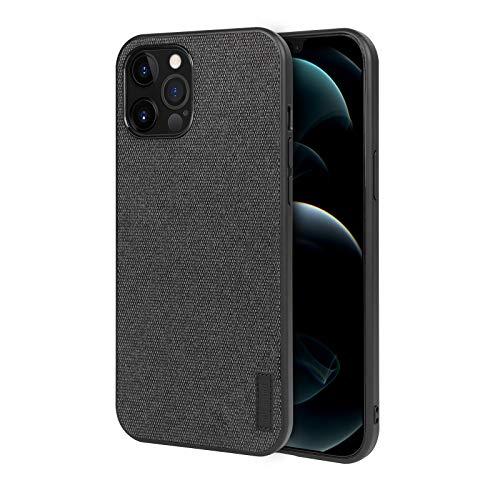 memumi Hülle für iPhone 12/12 Pro, Mehrweg Leinen Schutzhülle,Anti-Fingerabdruck, Stößen Schutzhülle kompatibel mit iPhone 12 Case Cover [ TPU Rahmen ]-Schwarz