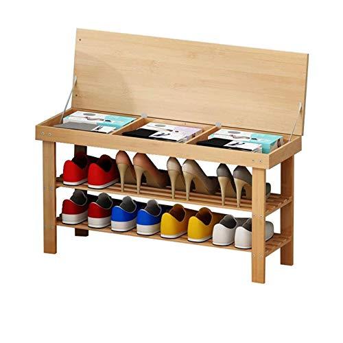 XinLuMing Estante de Zapatos con gabinete de Almacenamiento Puesta de bambú Pasillo Simple para el Almacenamiento de la Entrada Moderna de Madera versátil (Color : Natural)