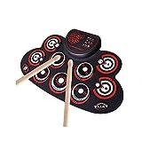E-Drum LQH - Juego de 9 altavoces dobles integrados con función de grabación y Bluetooth, para principiantes, color amarillo