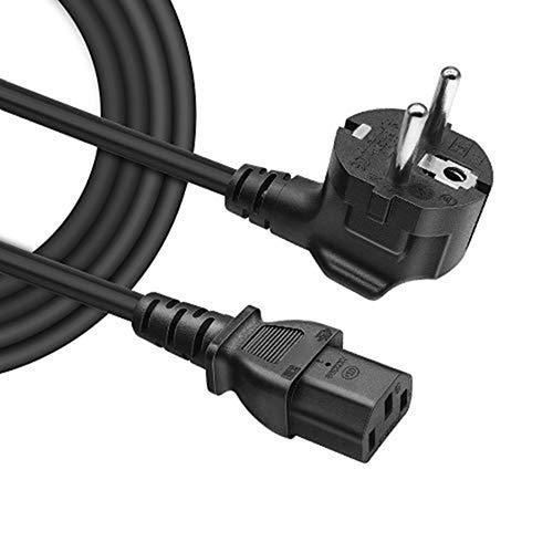 BERLS Câble d'alimentation PC TV, Cordon Électrique Secteur pour Samsung LE32A457C1D LCD TV EU Schuko CEE7 Prise Angulaire vers IEC 320 C13 | 16A 250V 4000W (Européen - Noir) 1.5m