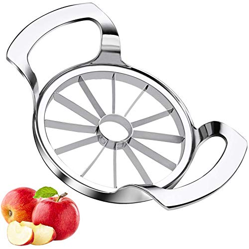 WISMURHI Cortador de Manzanas [12-Blades] Acero Inoxidable Ultra Afilado para Manzanas, Fácil Agarre, Apto para Lavavajillas, Cortador de Frutas Apple Cortador Cortador de Fruta [Plata]