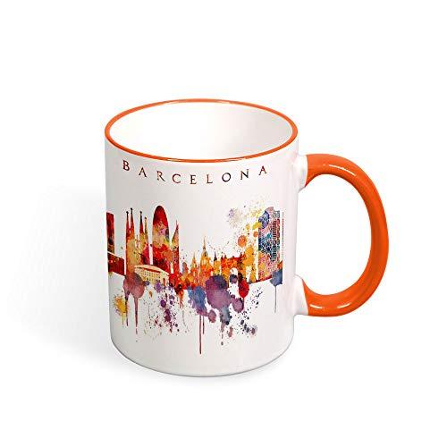 Barcelona Kaffeebecher, Barcelona City Skyline Tasse, Spanien, Souvenir, Geburtstag, Weihnachten, Jahrestag, Geschenkidee, Teetasse, 325 ml Orange
