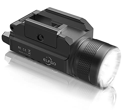 ELFGO Weapon Light, 1200 Lumens Pistol Light Compact LED Gun Lights Tactical Handgun Light Rail Mounted Glock Flashlight with Strobe Rifle Light for Picatinny MIL-STD-1913,Springfield,Glock 17 19