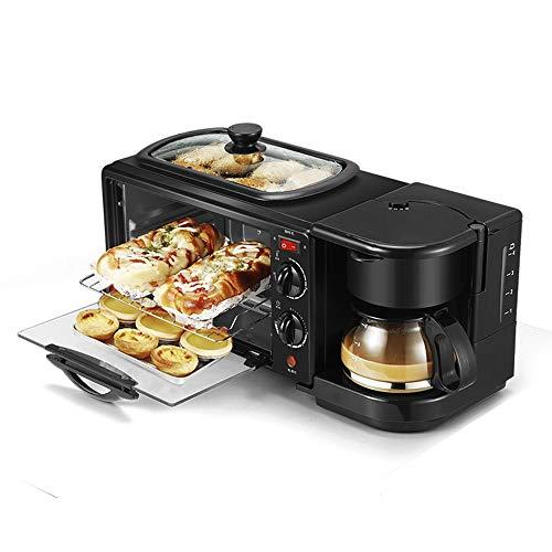 lijunjp Máquina de Desayuno multifunción 3 en 1, cafetera doméstica, Pizza, Huevo, Tarta, Horno, sartén, máquina para Hacer Pan, Horno eléctrico con Control de Temporizador, Negro
