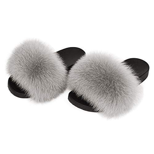 PALAKLOT Women Faux Fur Fluffy Sliders Indoor/Outdoor Open Toe Slippers Slip On Flat Mules Summer Shoes Ladies (Grey, 7 UK, 7)