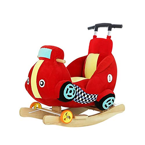 Purchase Kibten Dual-use Rocking Horse Plush Car Rocker Chair with Wheel & Putter & Seatbelt, Boy Gi...