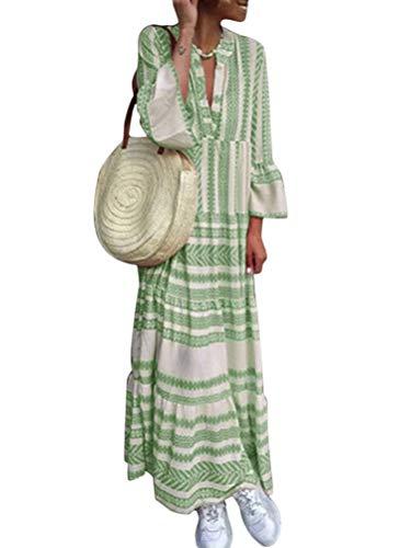 Minetom Damen Boho Vintage Sommerkleid Chic 3/4-Arm Strandkleid V-Ausschnitt Bohemian Casual Kleider Drucken Eine Linie Maxikleid B Grün DE 40