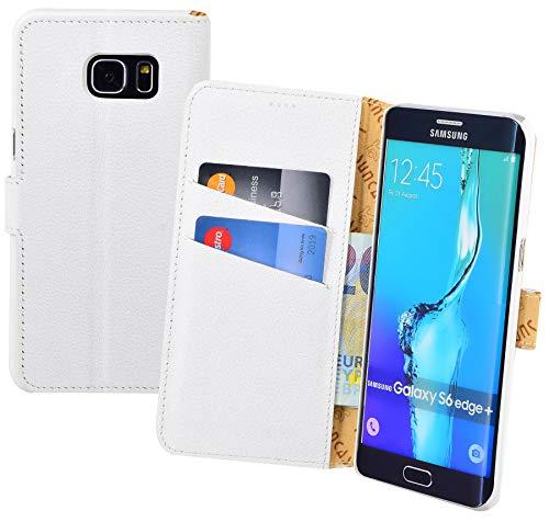 Suncase Funda estilo libro compatible con Samsung Galaxy S6 Edge Plus + funda de piel protectora (con función atril y 2 tarjeteros), color blanco
