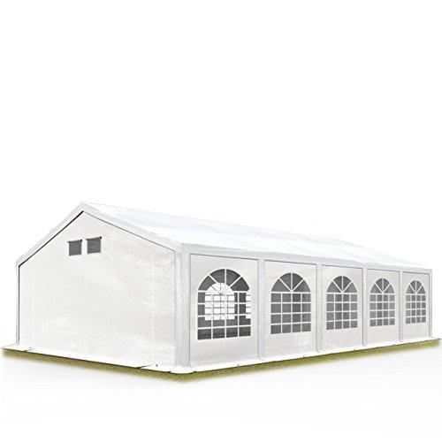 TOOLPORT Partyzelt Festzelt 5x10 m in weiß Professional ca. 300 g/m² PE Plane Wasserdicht UV Schutz mit BODENRAHMEN Gartenzelt