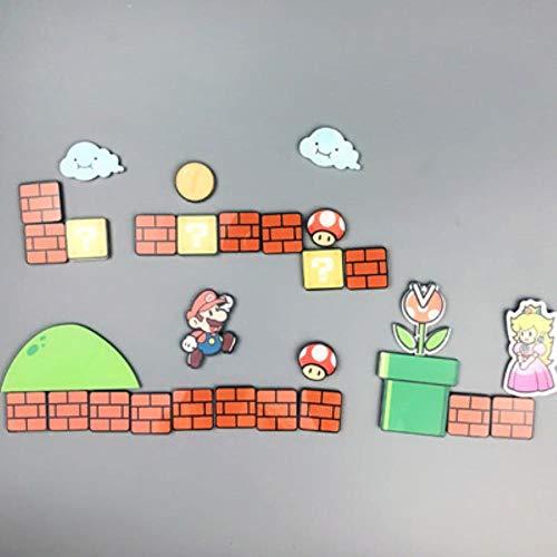 JINMENHUO 17/22/28/29 Pcs Super Mario Kühlschrank Magnete Kühlschrank Japan Cartoon Gaming Cartoon Icebox Pastor Icebox Aufkleber, 29 Pcs