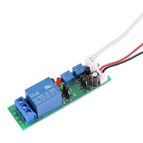 MóDulo de Temporizador, Relé de Retardo De Temporizador Dc 5V 12V 24V Placa de Controlador MóDulo de Interruptor de Temporizador de Ciclo De Retardo Apagado Ajustable(DC 24V 0-15 minutos ajustable)