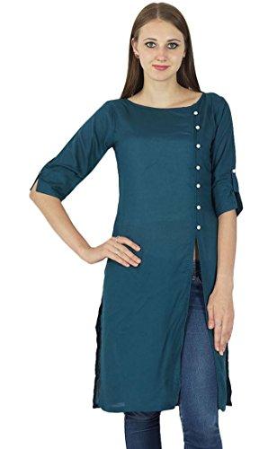 Designer Indische Bollywood Kurta Frauen Baumwolle Solide Kurti Lässig Top Tunika-Kleid