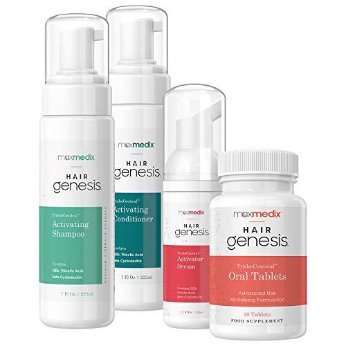 maxmedix HairGenesis Haarpflege Set mit Trichoceutical-Technologie | Shampoo, Conditioner, Serum & Kapseln | Rundum Hilfe bei Haarausfall | Für Frauen & Männer | 2 x 220ml, 1 x 50ml & 30 Tabletten