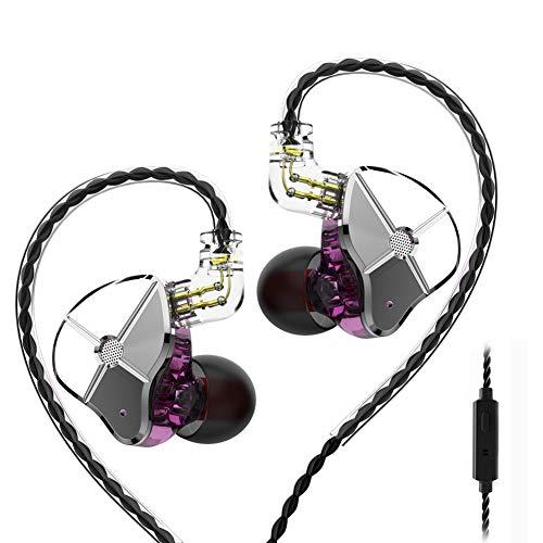 TRN-ST1 Hybrid Dual Drivers In-Ear-Monitor, 1DD+1BA HD Stereo Sound Sport-Ohrhörer/Kopfhörer mit abnehmbarem Kabel für Android, Windows, Telefon with Mic Reiniger Magenta