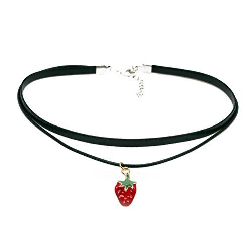 Rose, Hündchen, Erdbeere, Schädel Anhänger Choker Halskette Gothic Für Mädchen und Jungen (Erdbeere)