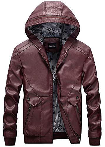chouyatou Men's Stylish Hooded Zip-Front Fleece Lined Moto Pu Leather Bomber Jackets (Medium, Wine Red)