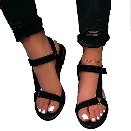 BLANSHAN Pantuflas para mujer, cómodas, informales, para el hogar, sandalias de verano, de piel, con tacto ajustable, para playa, verano, negro, rojo, caqui, marrón