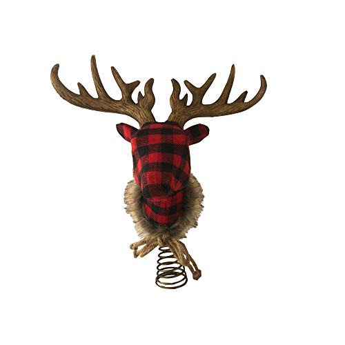 Fabric Reindeer Deer Head Antler Christmas Tree Topper Buffalo Check Plaid (Buffalo Plaid)
