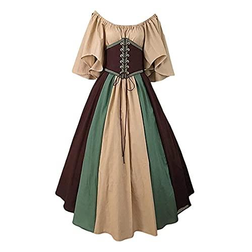 TMOYJPX Disfraz Halloween Vestido Medieval Mujer Gótico Palacio - Disfraces Medievales Princesa Reina Bruja, Vestidos de Fiesta para Mujer Tallas Grandes (Caqui, S)