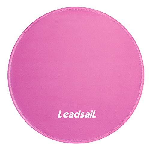 LeadsaiL 30% Larger Mouse Pad with Stitched Edge PremiumTextured Mouse Mat Waterproof NonSlip Rubber Base Round Mousepad for Laptop Computer PC Office 98×98×012 inches Rose