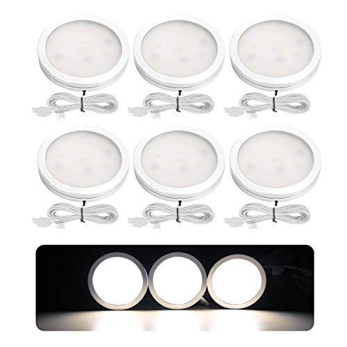 LE 6 Pack LED Puck Lights, Kitchen Under Cabinet Lighting Kit, 1020 Lumens 5000K Daylight White Night Light, All Accessories Included, Perfect for Kitchen Under Counter Bedroom Hallway Stairs