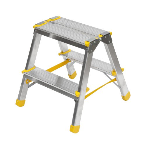 Aluminium Trittleiter, beidseitig begehbar, 2x2 Stufen, 150kg Traglast