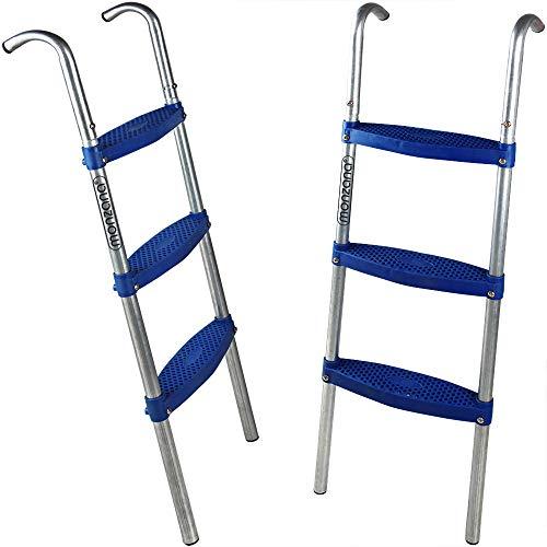 Deuba Escalera de trampolín Cama elástica de 110 cm 3 peldaños Altura de 90cm Entrada Resistente a los Rayos UV Montaje Flexible