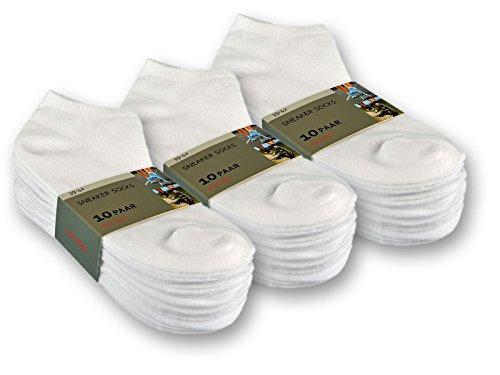 sockenkauf24 10 bis 100 Paar Sneaker Socken Baumwolle Damen und Herren Schwarz und Weiß (35-38, 30 Paar | Weiß)