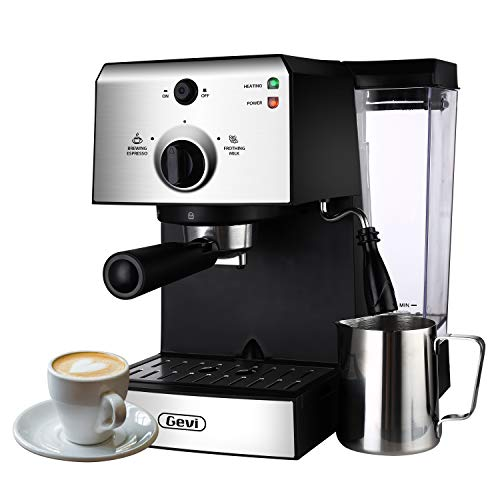 Espresso Machines 15 Bar Coffee Machine with Milk Frother Wand for Espresso, Cappuccino, Latte and Mocha, 1.5L large Removable Water Tank, Double Temperature Control System, Stainless Steel, 1350W