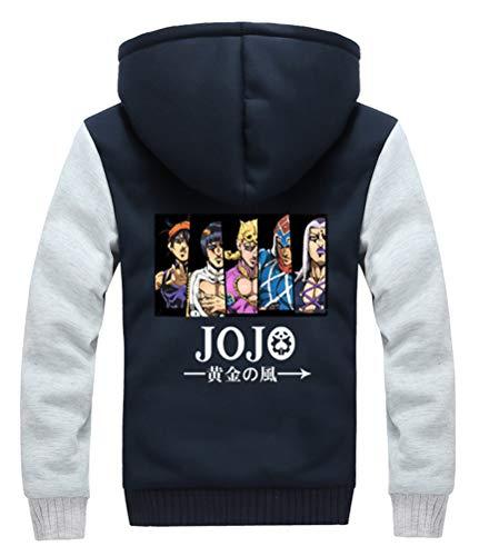 WANHONGYUE JoJo's Bizarre Adventure Anime Winterjacke Mit Kapuze Fleece-Innenseite Dicke Hoodie Jacket Reißverschluss Plus Samt Strickjacke Kapuzenpullover Sweatshirt Mantel 831/17 L
