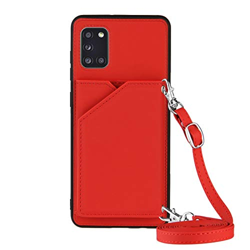 Galaxy A31 Wallet Case para Samsung A31 Lanyard Case, shockproof Stand Bumper Cover Cross-body Girly Case (rojo)