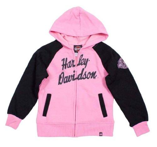 HARLEY-DAVIDSON Little Girls' HD Fleece Full-Zip Hooded Sweatshirt 0331588 (6X) Pink