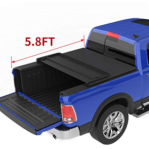 oEdRo Soft Tri-fold Truck Bed Tonneau Cover On Top Compatible for 2009-2020 Dodge Ram 1500 with 5.8ft Extra Short Bed, Fleetside (w/o Ram Box)